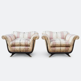 Pair of Large Lounge Chairs Attributed to Guglielmo Ulrich Circa 1940