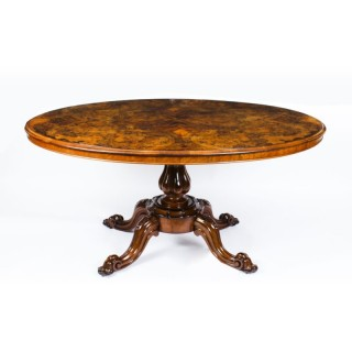 Antique Victorian Burr Walnut Oval Loo Table 19th Century