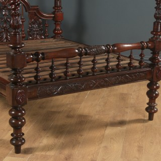 """Antique 5ft 4"""" Victorian Anglo-Indian Colonial Raj King Size Four Poster Bed (Circa 1880)"""