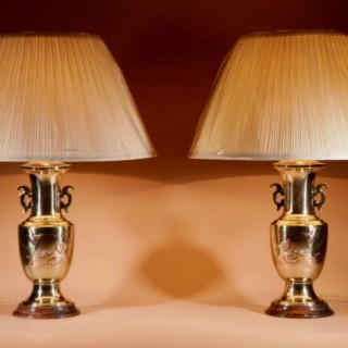 Japanese Heavy  Brass Cast Inlayed Pair Of  table Lamps.