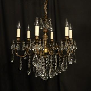 Italian 6 Light Gilded Antique Chandelier