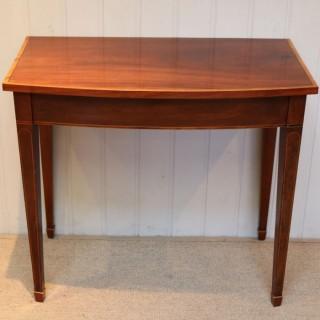 Edwardian Mahogany & Satinwood Bow Front Side Table