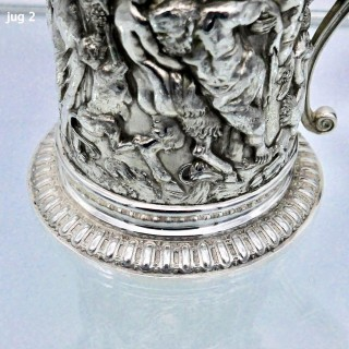 19th Century Antique Victorian Silverplate Pair Wine Jugs Circa 1870