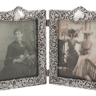 Sterling Silver Double Photograph Frame - Antique Victorian (1895)