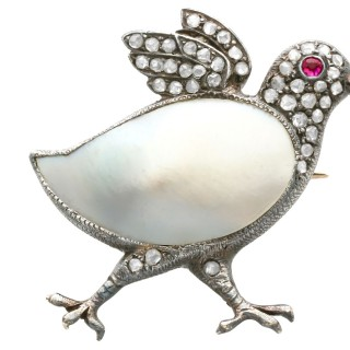 Blister Pearl, Ruby and 0.33ct Diamond, 9ct Yellow Gold Chick Brooch - Antique Victorian Circa 1890