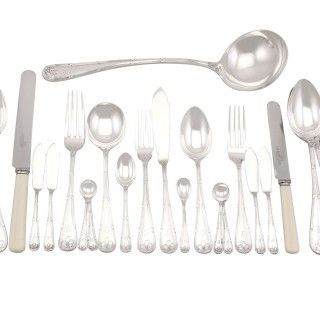 Sterling Silver Canteen of Cutlery for Twelve Persons by Walker & Hall - Antique George V (1927)