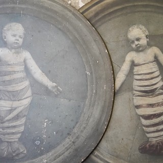 Two c.1900 Gelatin Tondo Prints on Board of Babies in Swaddling Clothes by Andrea della Robbia; Brogi Studio Florence