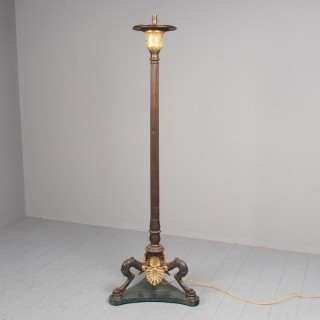 Antique Gilded Bronze and Marble Standard Lamp