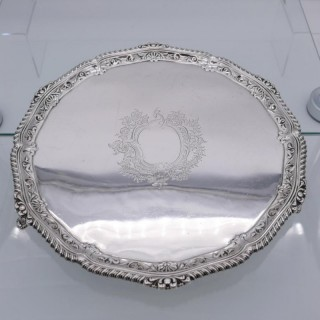 Antique Victorian Large Sterling Silver Salver London 1894 George Maudsley Jackson