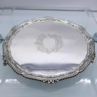 Antique Victorian Large Sterling Silver Salver London 1894 George Maudsley Jackson
