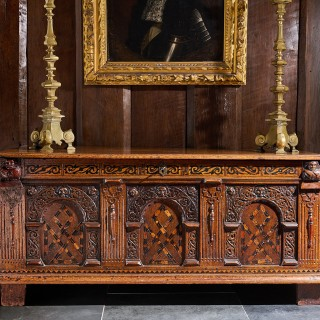 Elizabeth I oak carved chest