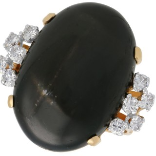 Star Onyx and 0.65 ct Diamond, 18 ct Yellow Gold Dress Ring - Vintage Circa 1950