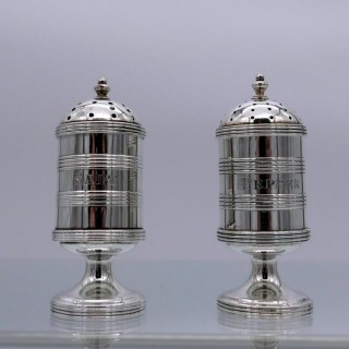 Antique Victorian Sterling Silver Salt & Pepper Pots London 1882 Rowland Hill