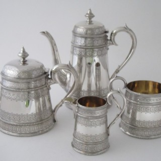 Antique  Victorian Sterling Silver Tea & Coffee Set - 1881