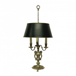 A SILVER PLATED BRONZE BOUILLOTTE LAMP