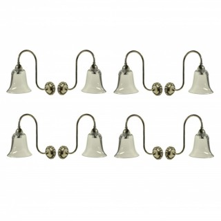 A SET OF EIGHT SWAN NECK WALL LIGHTS