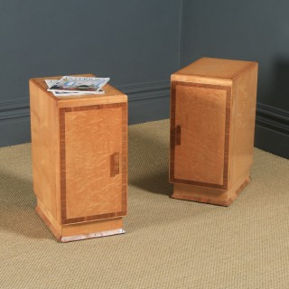 Antique English Pair of Art Deco Birds Eye Maple & Walnut Bedside Cupboards Tables Nightstands (Circa 1930)
