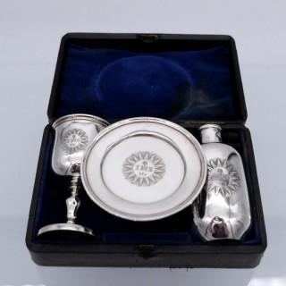 Antique Victorian Sterling Silver Communion Set London 1840 Barnard Family