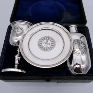 Antique Victorian Sterling Silver Communion Set London 1840 Barnard Family