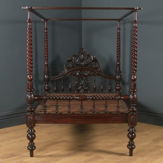 """Antique 4ft 6"""" Victorian Anglo-Indian Colonial Raj Double Size Four Poster Bed (Circa 1880)"""