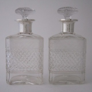 Antique Sterling Silver & Cut Glass Decanters - 1934