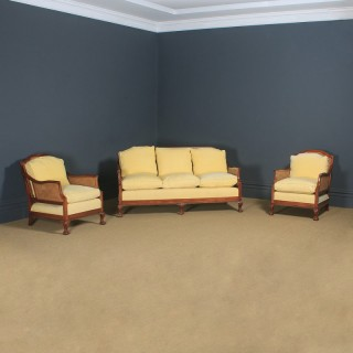 Antique English George V Chippendale Style Three Piece Mahogany & Cane Bergere Couch Settee Sofa Lounge Suite (Circa 1930)
