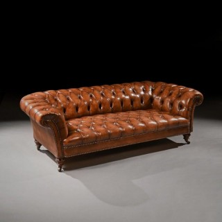 Fine 19th Century Victorian Walnut Leather Upholstered Chesterfield Sofa