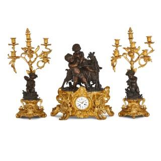 Antique Rococo Louis XV Style Ormolu and Patinated Bronze Clock Set by Denière et Fils