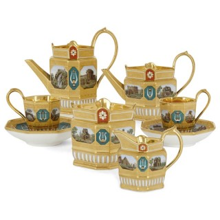 Antique Berlin (KPM) Porcelain Six-Piece Tea and Coffee Set