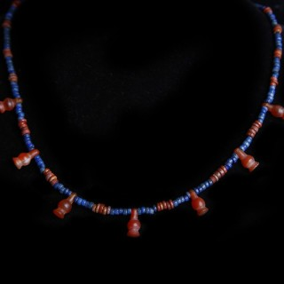 Egyptian Faience Necklace with Poppy Amulets