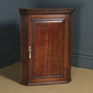 Antique English Georgian Oak Wall Hanging Corner Cupboard / Cabinet (Circa 1780)