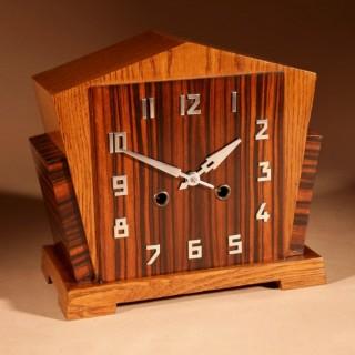 A Very Stylish Typical Art Deco Amsterdam School Oak and Macassar Ebony/Coromandel Mantel Clock.
