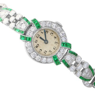 4.46ct Diamond and 1.61ct Emerald Cocktail Watch in Platinum and 9 ct White Gold - Art Deco - Vintage Circa 1953