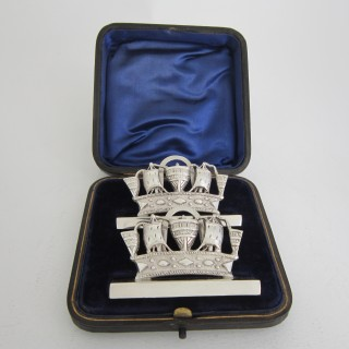 Antique Edwardian Sterling Silver Nautical Menu/Place Card Holders - 1905