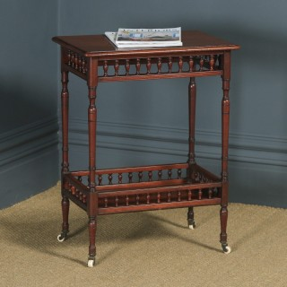 Antique English Victorian Mahogany Occasional Two-Tier Side Table (Circa 1890)