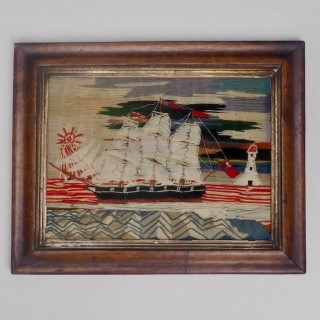 Wool Work Sailing Ship of a British Sloop Circa 1860