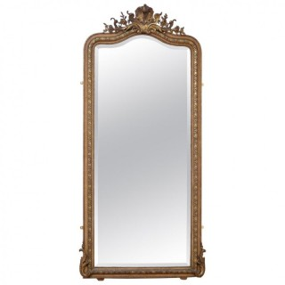 19th Century French Gilded Wall Mirror or a Leaner.