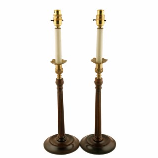 Pair of Georgian Style Candlestick Lamps