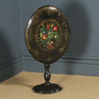 Antique English Victorian Black Ebonised Chinoiserie Papier Mâché Folding Occasional Tripod Table (Circa 1870)