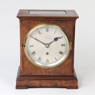 Burr Walnut Library Clock Timepiece by J.W. Benson