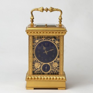 Gilt filigree and blue enamel repeating carriage clock