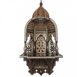 WALNUT INLAID WITH MOTHER OF PEARL WALL BRACKET, SYRIA, 19TH CENTURY