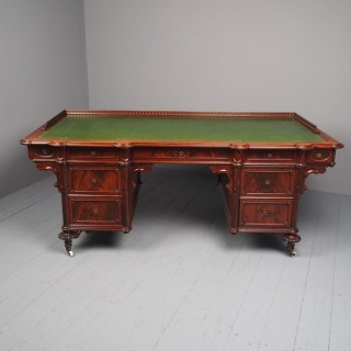 Antique Unusual French Mahogany Large Desk