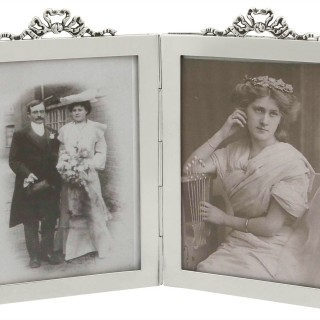 Sterling Silver Double Photograph Frame - Antique Edwardian (1907)