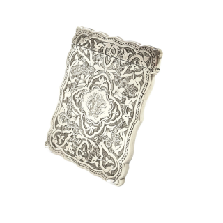 Antique Victorian Sterling Silver Card Case 1878