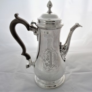 Fine armorial early George III silver coffee pot London 1761 Thomas Whipham & Charles Wright