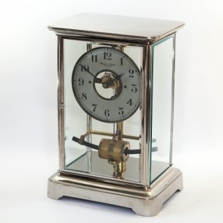 Silvered electric Bulle four-glass clock