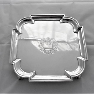 Superb quality crested square George II silver salver London 1731 John Swift