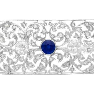 0.75ct Sapphire and 1.74ct Diamond, 18ct White Gold Brooch - Antique Circa 1920