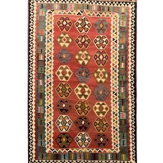 Handmade Antique Persian Qashqai Kilim Rug- 123x206cm